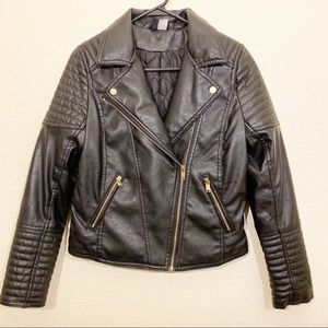 Divided faux leather jacket